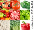 Collection of fresh vegetable backgrounds - stock photo