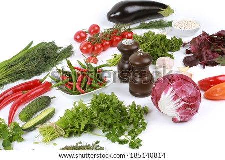 Collection of fresh vegetables on white background, eggplant, parsley, white beans, tomatoes, parsley, beets, peppers, garlic, onions, cucumbers, red beans, thyme, salt, cabbage - stock photo
