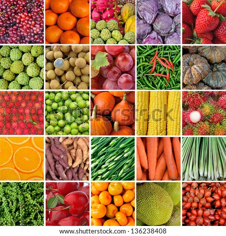 collection of fruit and vagetable backgrounds - stock photo