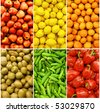 collection of fruit and vegetable backgrounds - stock photo