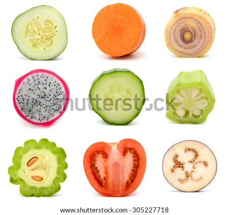 collection of fruit and vegetable slices - stock photo