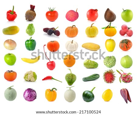 collection of Fruits and vegetable isolated on white background - stock photo