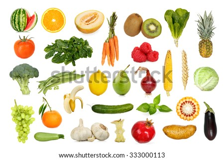 collection of fruits and vegetables isolated on white