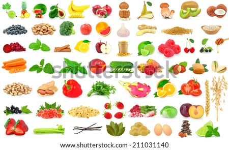 collection of fruits and vegetables on a white background