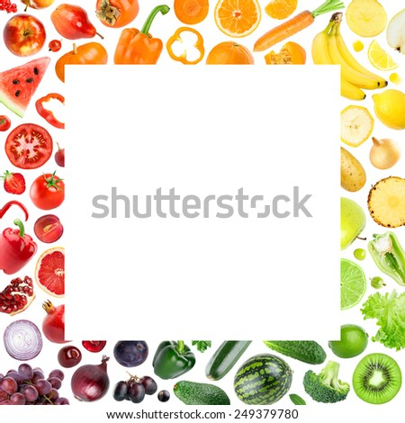 Collection of fruits and vegetables on white background. Food concept - stock photo