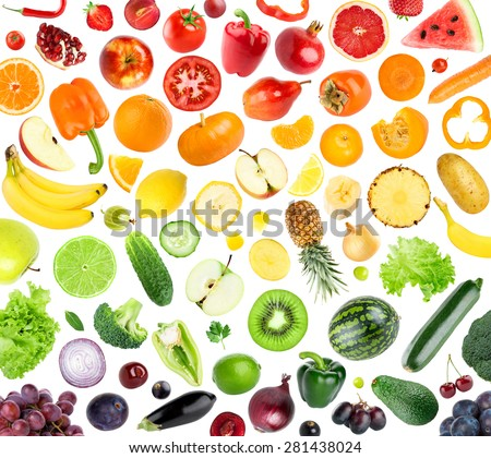 Collection of fruits and vegetables on white background. Fresh food - stock photo