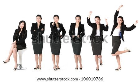 Collection of 6 full length portraits of the same Asian business woman. Isolated on white background