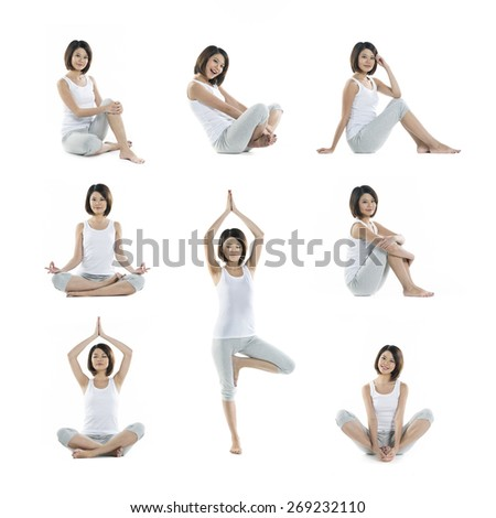Collection of 8 full length portraits of the same Asian woman doing yoga exercise. Isolated on white background - stock photo