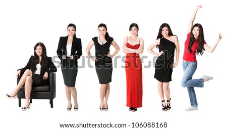 Collection of 6 full length portraits of the same Asian woman in different clothes. Isolated on white background. - stock photo