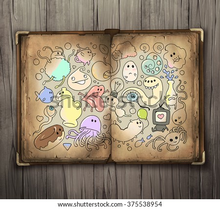 Collection of funny colorful cartoon doodle book illustrations - stock photo