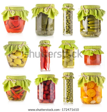 Collection of Glass jars of preserved isolated on white background - stock photo