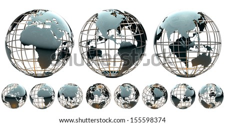 Collection of glossy metallic globes with continents on a metal grid - stock photo