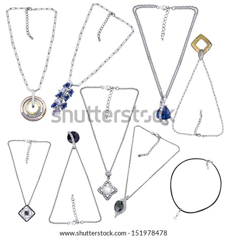 Collection of gold necklace with gemstones  over white background. Jewelry object - stock photo