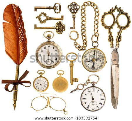 collection of golden antique accessories. vintage keys, clock, ink pen, scissors, compass, glasses isolated on white background - stock photo