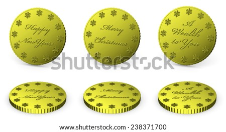 Collection of golden coin with wishes isolated on white background with shadow, 3d illustrations set - stock photo