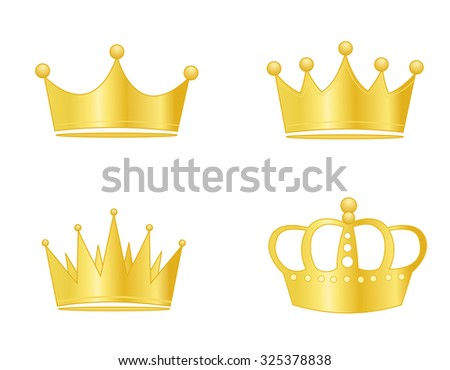 Collection of golden crowns isolated on white background - stock photo