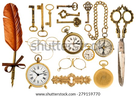 Collection of golden vintage accessories. antique keys, clock, compass, scissors, glasses isolated on white background. - stock photo
