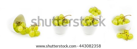 collection of grapes in white ceramic bowls on white background isolated - stock photo
