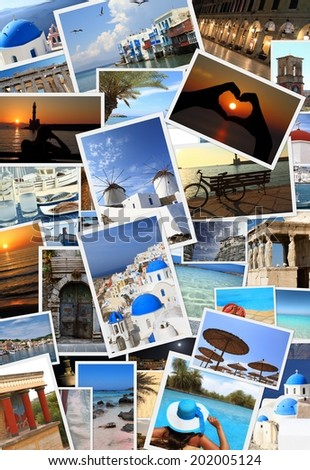 Collection of Greek islands photos - stock photo