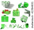 Collection of green Christmas decorations and gifts on white background - stock photo