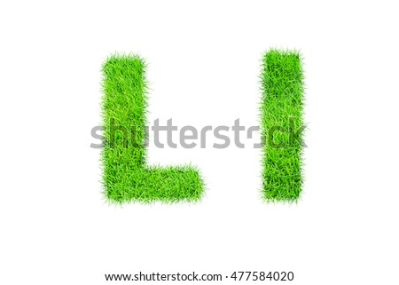 collection of green grass,eco font isolated on white background.l