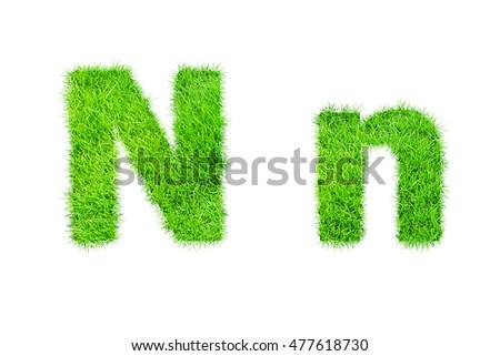 collection of green grass,eco font isolated on white background.n