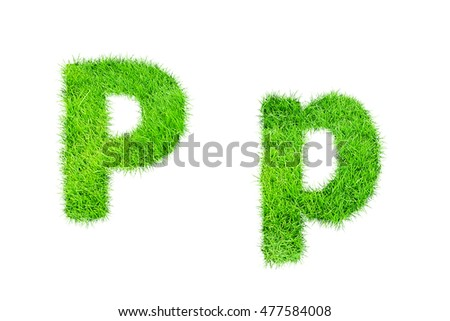 collection of green grass,eco font isolated on white background.p