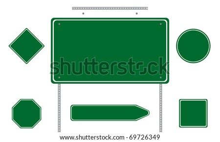 Collection of green road signs isolated on white background