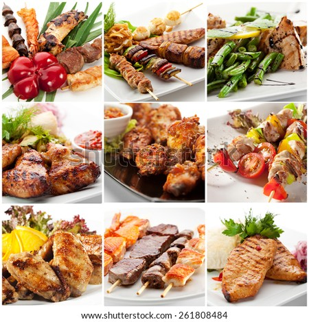 Collection of Grilled Chicken Pictures - stock photo
