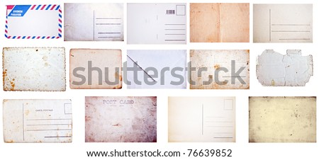 Collection of grunge empty postcards and envelopes isolated on white background - stock photo