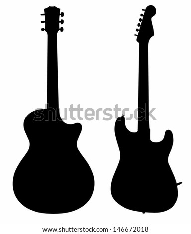 collection of guitars electric acoustic silhouette - stock photo