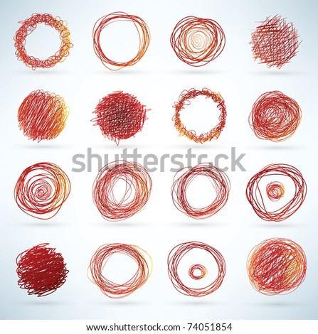 collection of hand-drawn circles - stock photo
