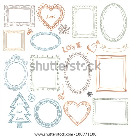 Collection of hand-drawn doodle frames  - stock photo