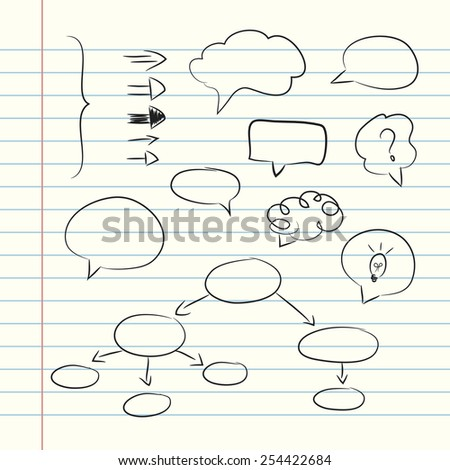 Collection of hand drawn doodle style speech bubbles and arrows. Notebook paper doodles - stock photo