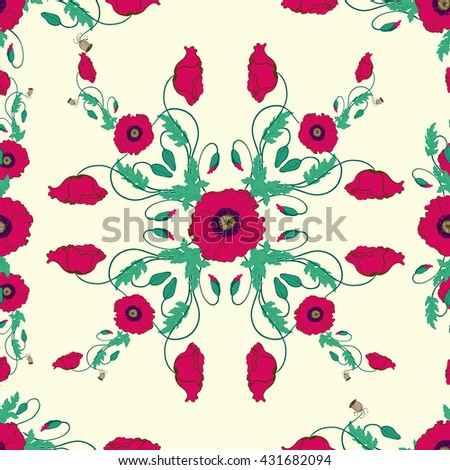 Collection of Hand Drawn Poppy Flowers. Seamless wallpaper.   Use printed materials, signs, items, websites, maps, posters, postcards, packaging.