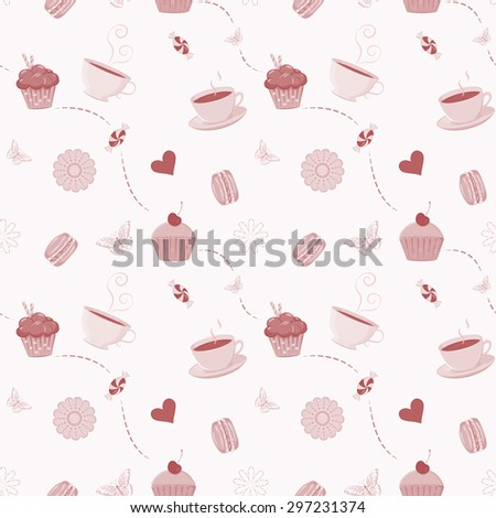 Collection of hand drawn teacups, teapots and sweets. Unique and elegant set for website, digital scrapbook and cafe or restaurant design. Separate elements could be used as icons - stock photo