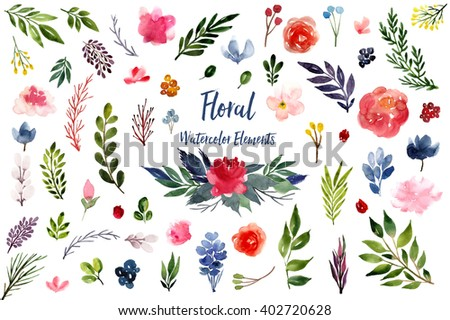 Collection of hand drawn watercolor floral elements: flowers, branches, leaves, wreaths, roses, berries. Can be used for print (home decor, posters, cards) and web (banners, blogs, advertisement). - stock photo