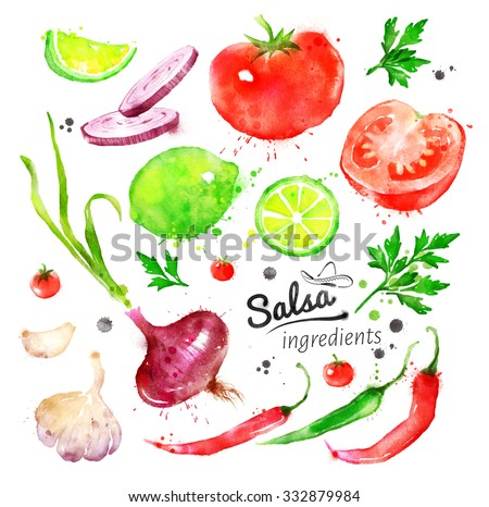 Collection of hand drawn watercolor vegetables - Salsa sauce ingredients. - stock photo