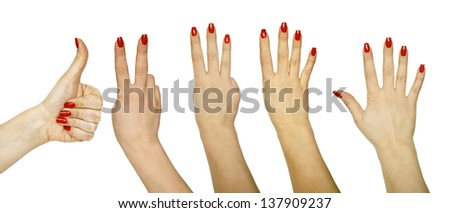 Collection of hand gestures isolated on white background counting from 1 - 5