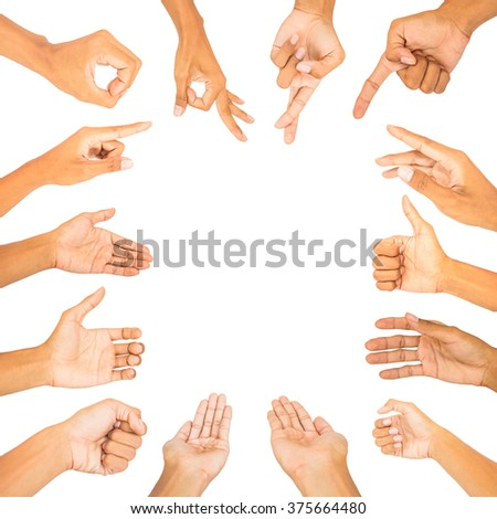 collection of hand make symbol white isolated