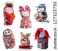 Collection of Handmade rag doll isolated on white background - stock photo