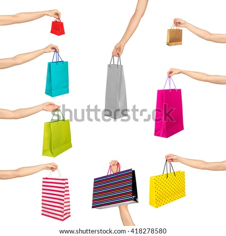 collection of hands holding shopping bags on an isolated white background