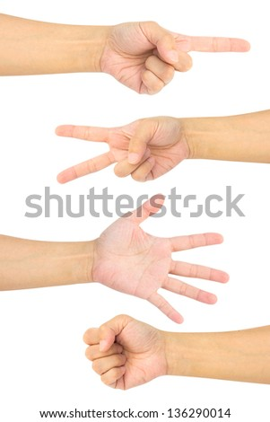 Collection of  hands on white background - stock photo