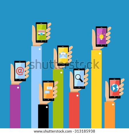 Collection of hands using mobile smartphone with business applications and social media content isolated  illustration. - stock photo