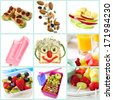 Collection of healthy snacks particularly for children.  Includes ants on a log, trail mix, apple and cheese, frozen yogurt, smiley face sandwich, fruit salad and kebabs, and a healthy lunchbox. - stock photo