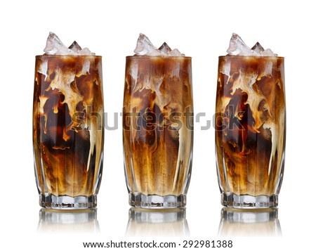 Collection of highballs filled with Dublin iced coffee with cream