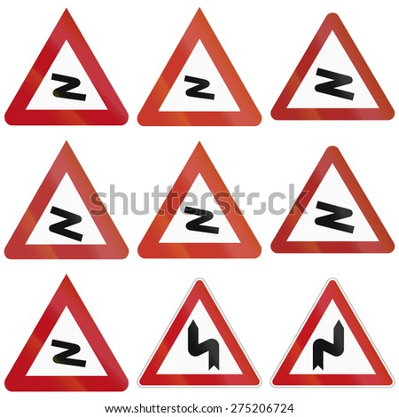 Collection of historic and modern (bottom right) curve warning signs in Germany.