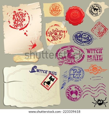 Collection of holiday mail design elements - postmarks and papers - Halloween postage set.  Raster version - stock photo