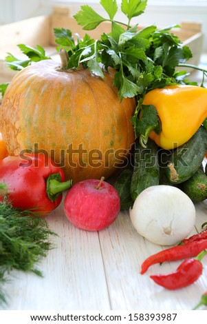 collection of home-grown vegetables, food close up
