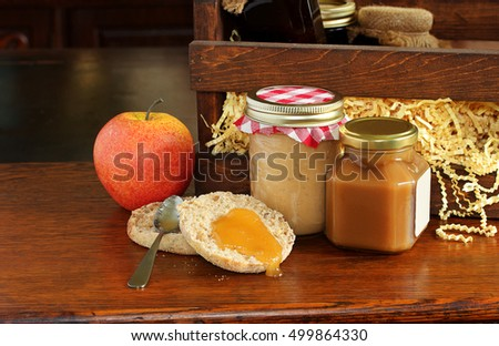 Collection of home made apple butters.  Simmered with autumn fruit and the sweet tart flavor can be enjoyed all year long